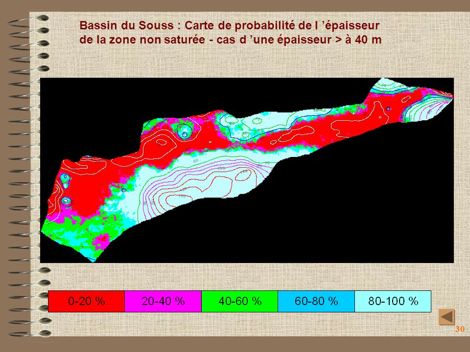 Bassin du Souss : Carte de probabilité de l 'épaisseur de la zone non saturée - cas d 'une épaisseur > à 40 m