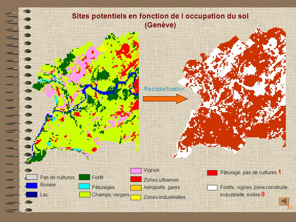 Sites potentiels en fonction de l occupation du sol (Genève)