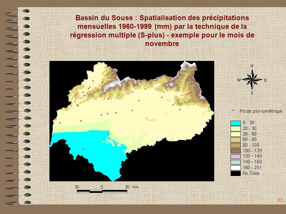 Bassin du Souss : Spatialisation des précipitations mensuelles 1960-1999 (mm) par la technique de la régression multiple (S-plus) - exemple pour le mois de novembre