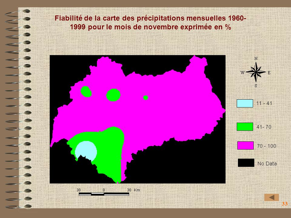 Fiabilité de la carte des précipitations mensuelles 1960-1999 pour le mois de novembre exprimée en %