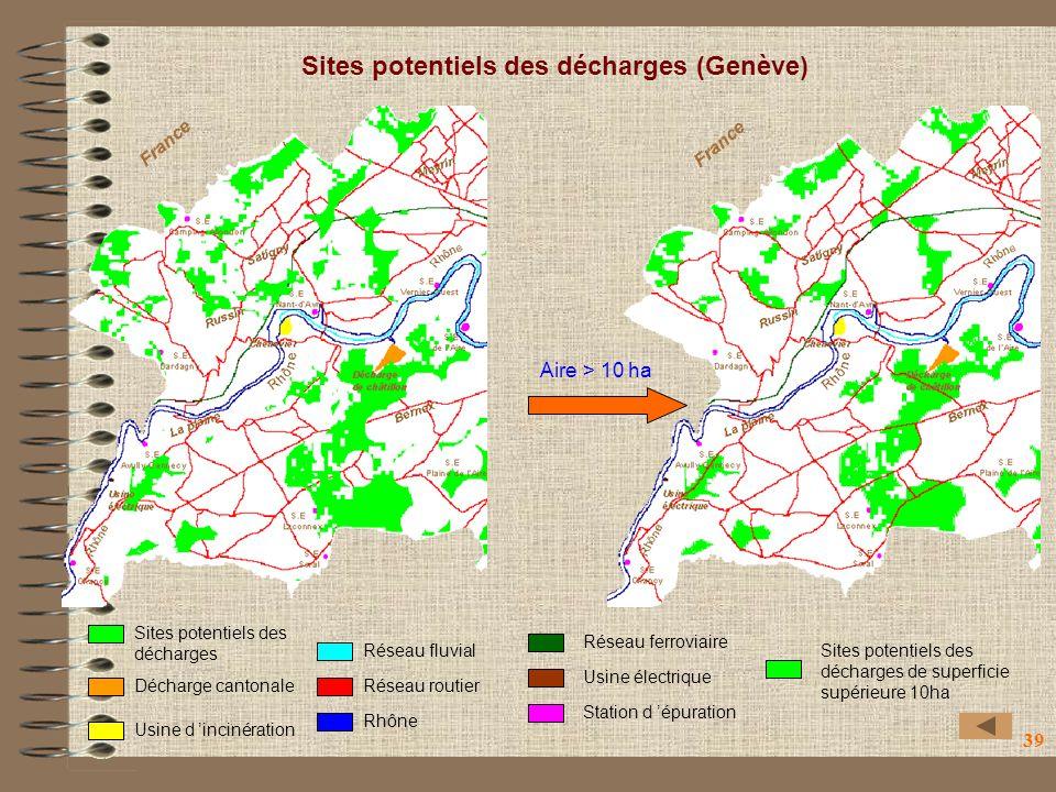 Sites potentiels des décharges (Genève)