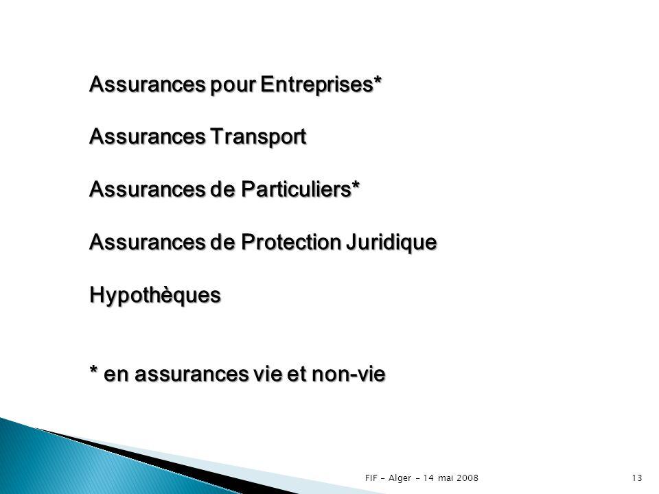 Assurances pour Entreprises* Assurances Transport