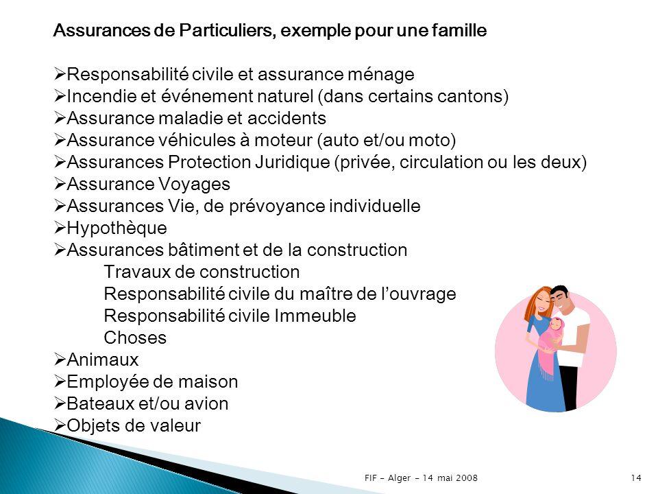 Assurances de Particuliers, exemple pour une famille