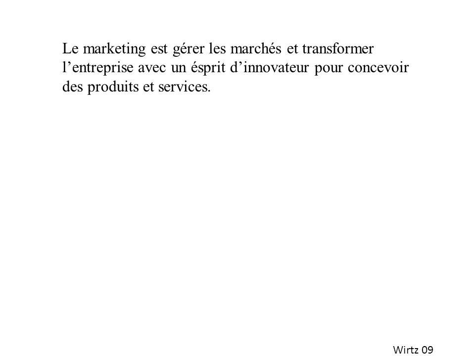 Le marketing est gérer les marchés et transformer l'entreprise avec un ésprit d'innovateur pour concevoir des produits et services.