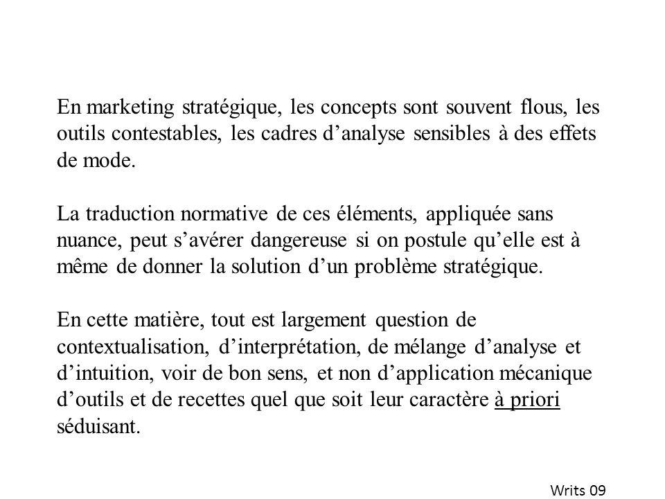 En marketing stratégique, les concepts sont souvent flous, les outils contestables, les cadres d'analyse sensibles à des effets de mode.