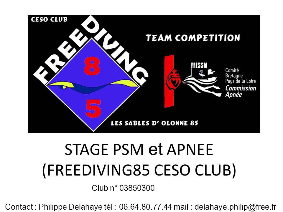 STAGE PSM et APNEE (FREEDIVING85 CESO CLUB)