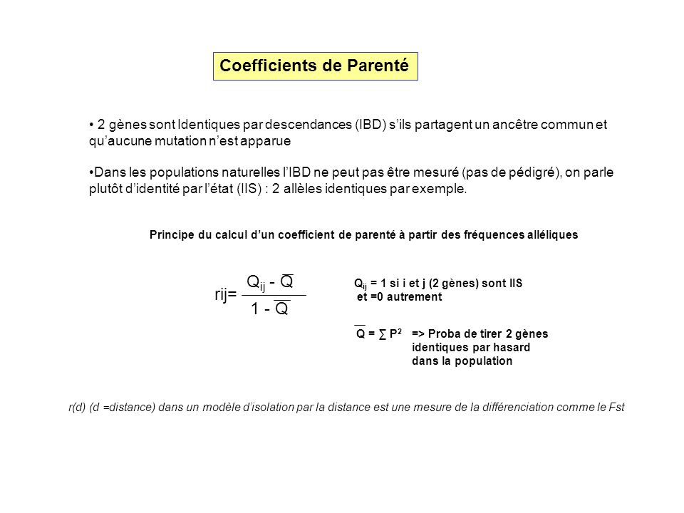 Coefficients de Parenté