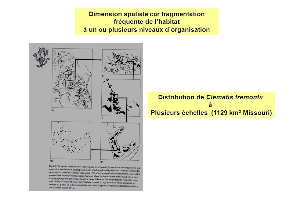 Dimension spatiale car fragmentation fréquente de l'habitat