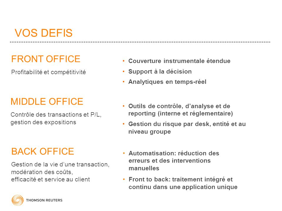 VOS DEFIS FRONT OFFICE MIDDLE OFFICE BACK OFFICE