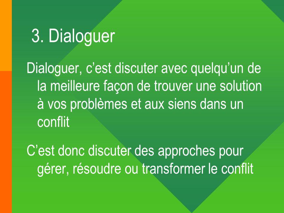 3. DialoguerDialoguer, c'est discuter avec quelqu'un de la meilleure façon de trouver une solution à vos problèmes et aux siens dans un conflit.