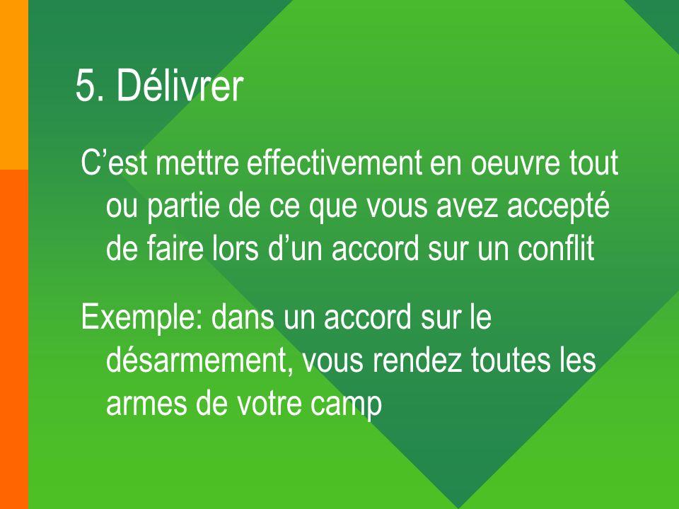 5. DélivrerC'est mettre effectivement en oeuvre tout ou partie de ce que vous avez accepté de faire lors d'un accord sur un conflit.