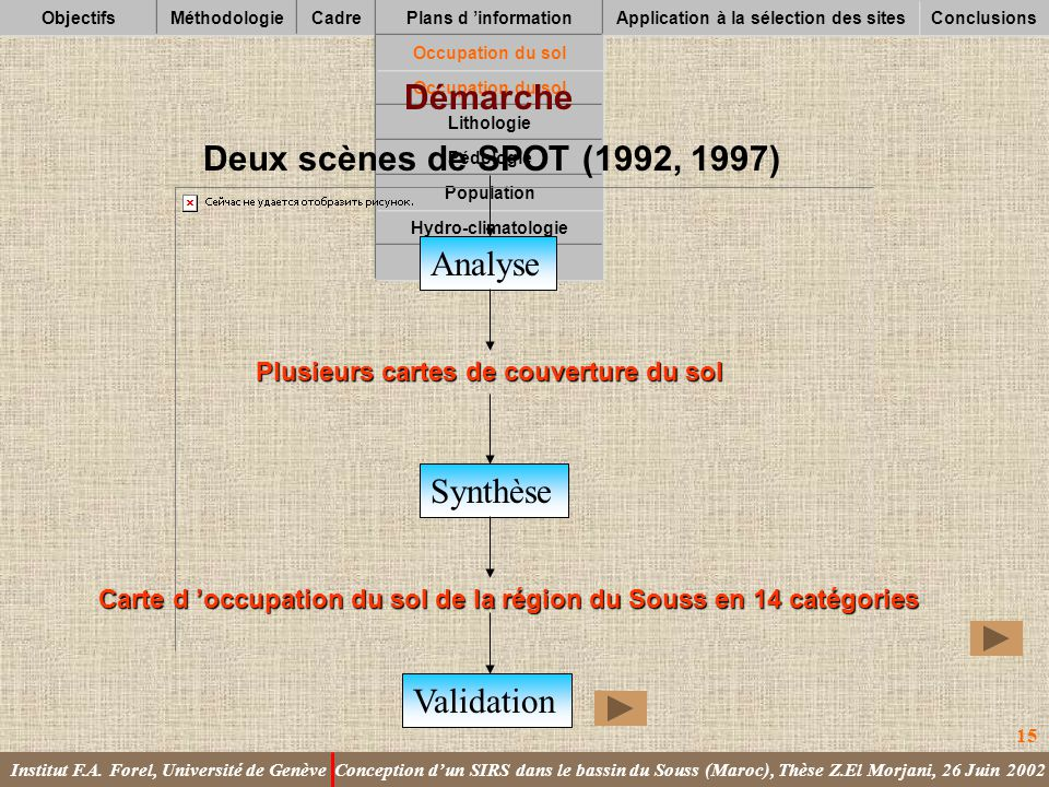Application à la sélection des sites
