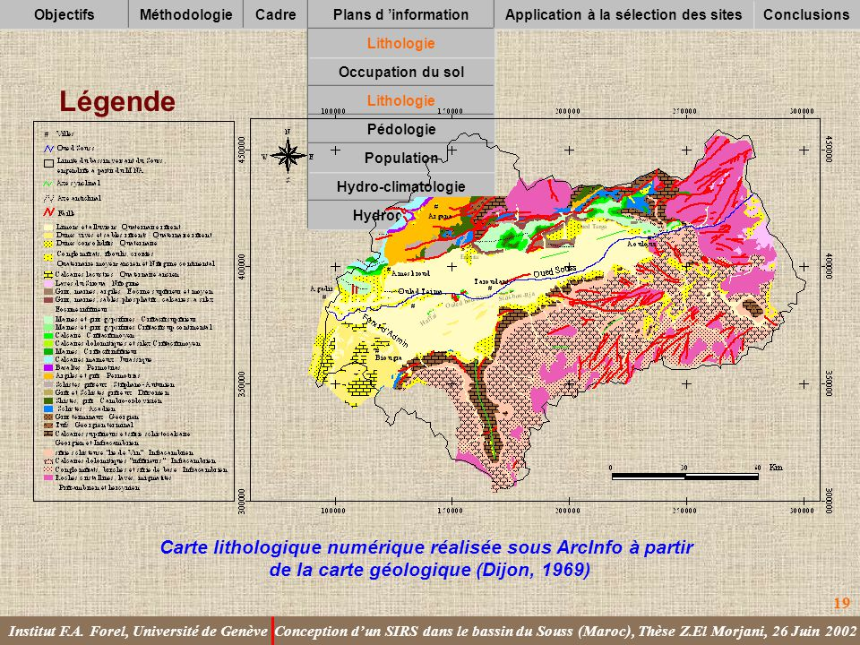 Légende Carte lithologique numérique réalisée sous ArcInfo à partir