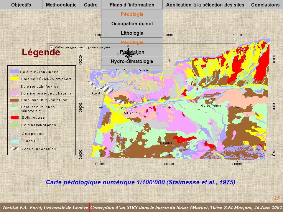 Légende Carte pédologique numérique 1/100'000 (Staimesse et al., 1975)