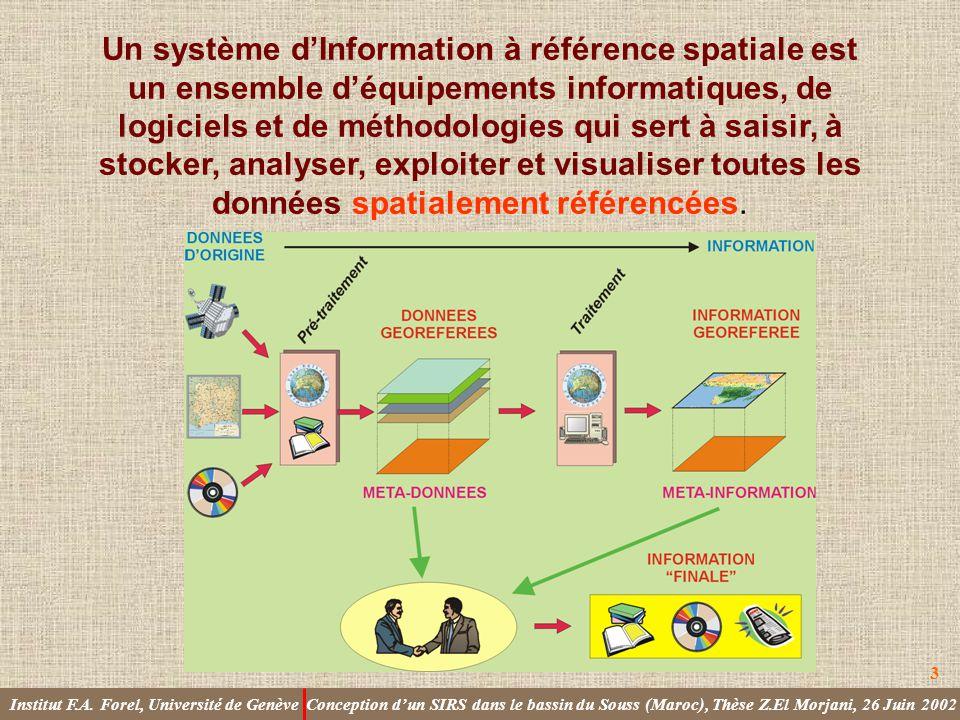 Un système d'Information à référence spatiale est un ensemble d'équipements informatiques, de logiciels et de méthodologies qui sert à saisir, à stocker, analyser, exploiter et visualiser toutes les données spatialement référencées.