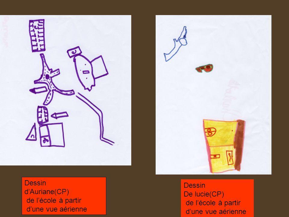 Dessind'Auriane(CP) de l'école à partir. d'une vue aérienne. Dessin. De lucie(CP) de l'école à partir.