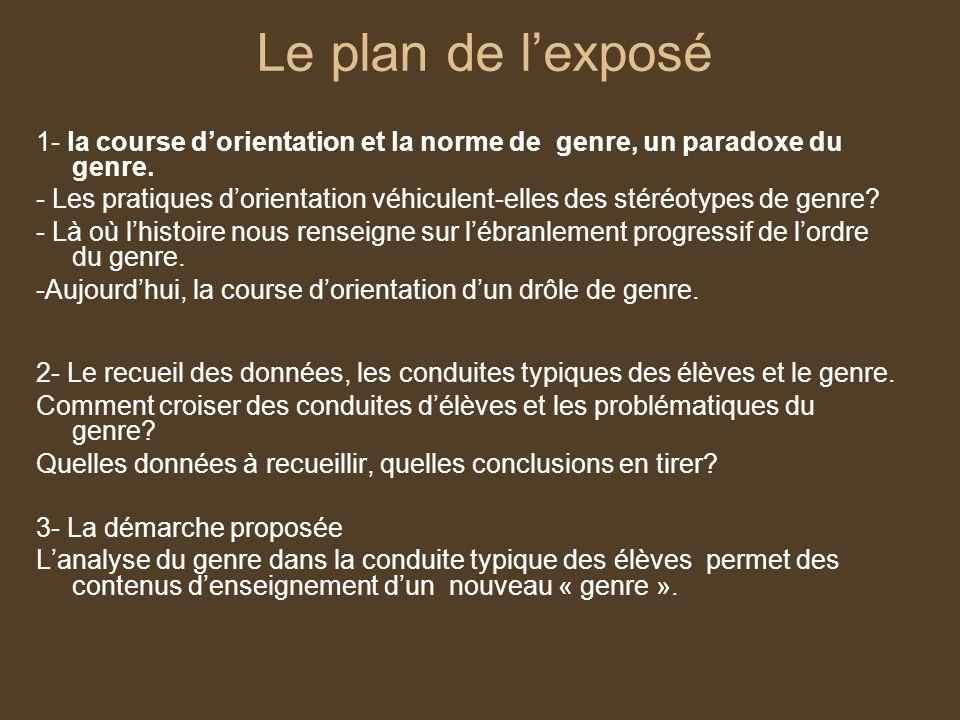 Le plan de l'exposé1- la course d'orientation et la norme de genre, un paradoxe du genre.