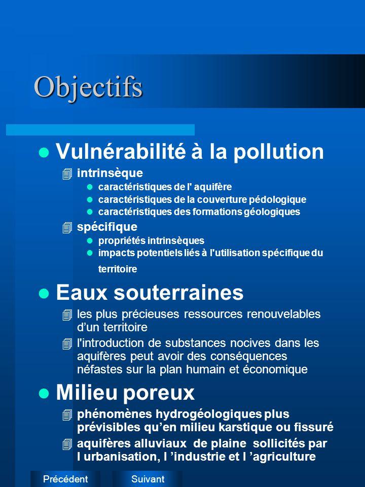 Objectifs Vulnérabilité à la pollution Eaux souterraines Milieu poreux