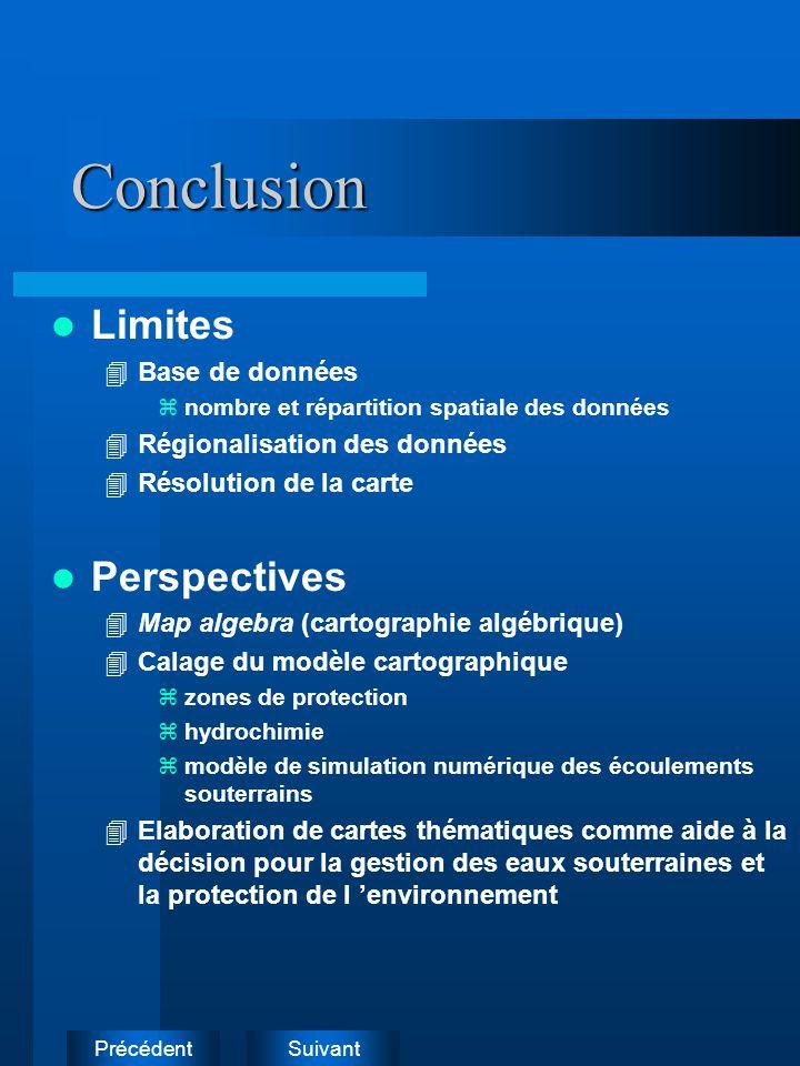 Conclusion Limites Perspectives Base de données