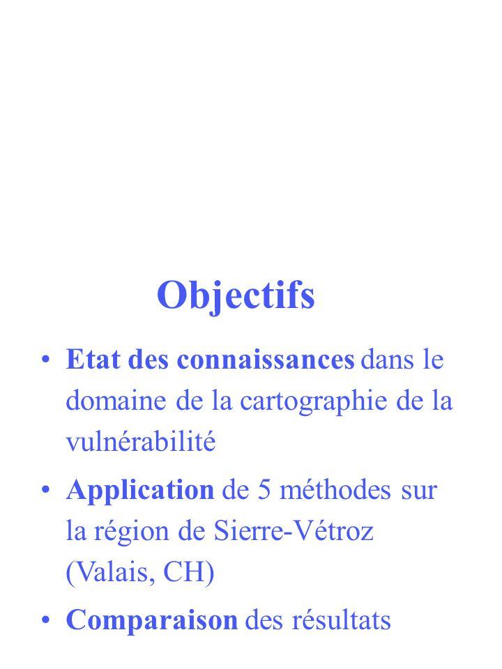 Objectifs Etat des connaissances dans le domaine de la cartographie de la vulnérabilité.