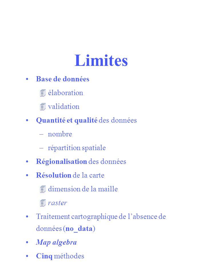Limites Base de données élaboration validation