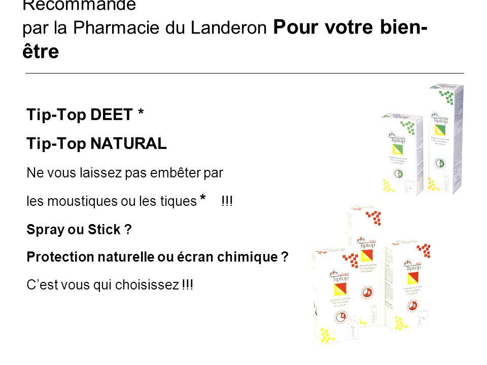 Recommandé par la Pharmacie du Landeron Pour votre bien-être