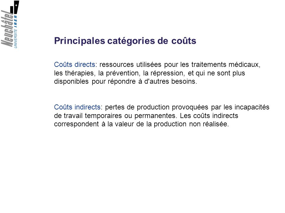 Principales catégories de coûts