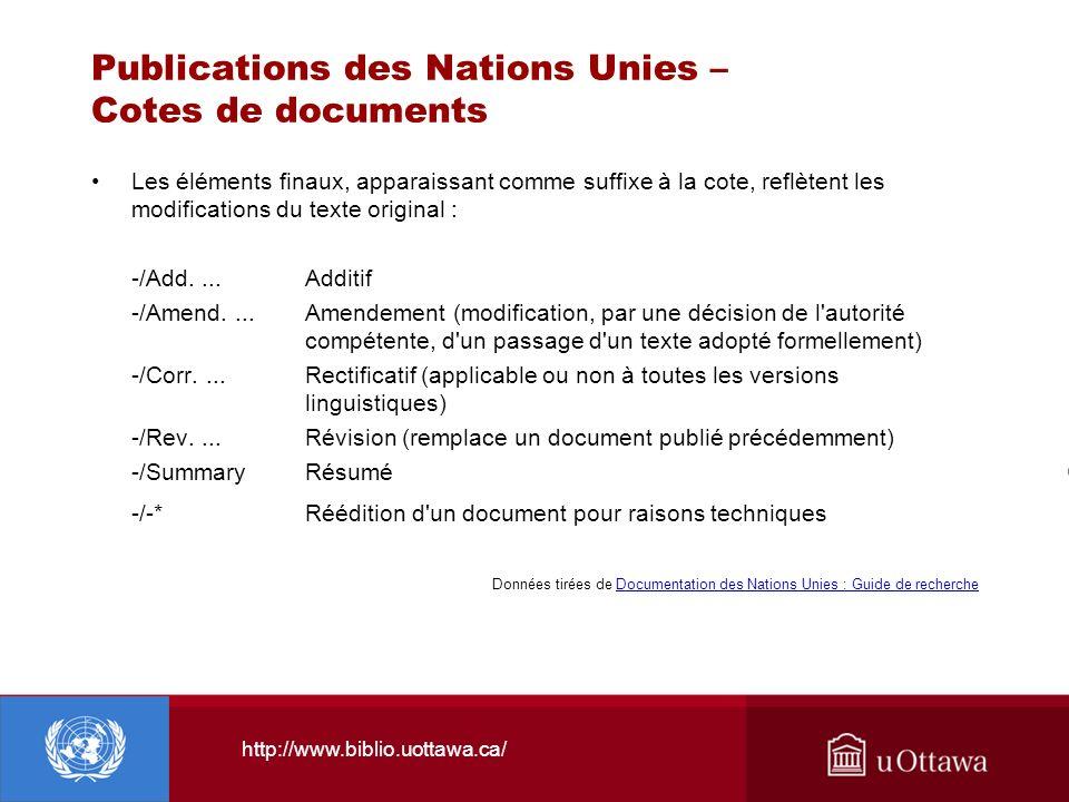 Publications des Nations Unies – Cotes de documents