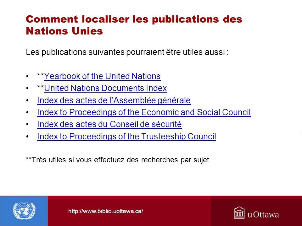 Comment localiser les publications des Nations Unies