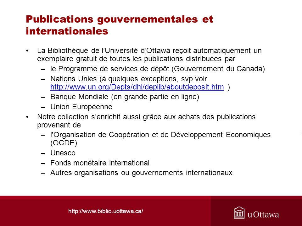 Publications gouvernementales et internationales