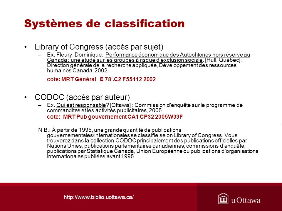 Systèmes de classification