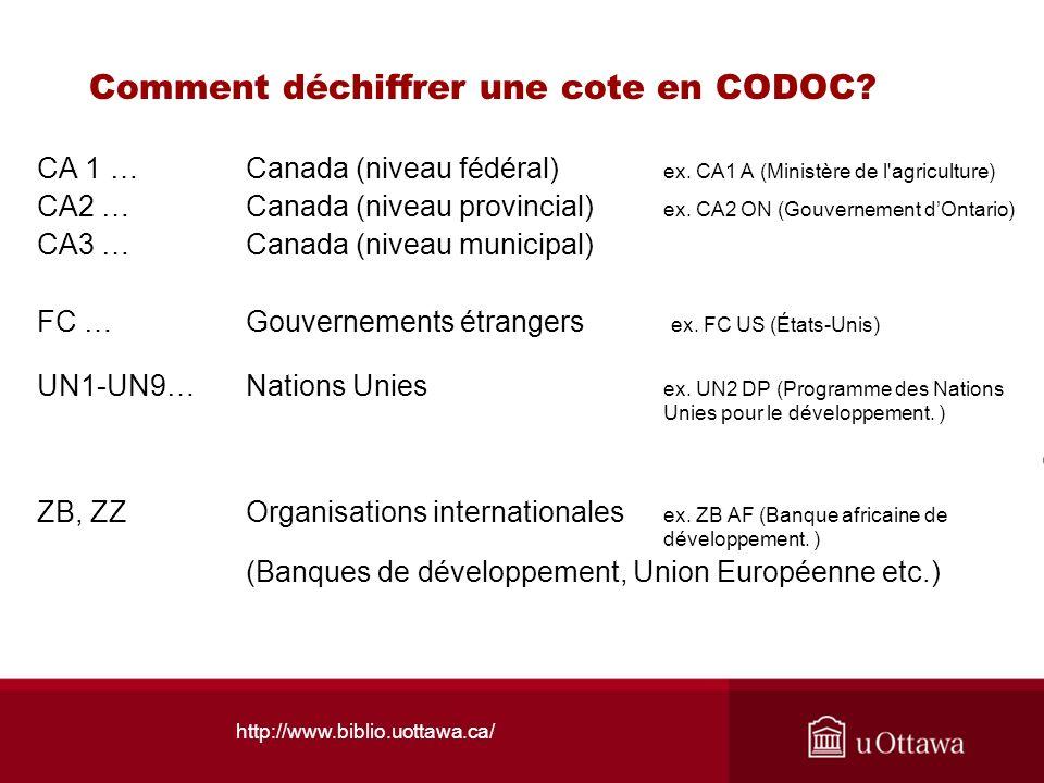 Comment déchiffrer une cote en CODOC