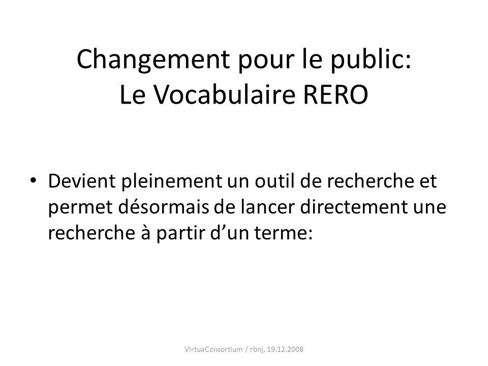 Changement pour le public: Le Vocabulaire RERO