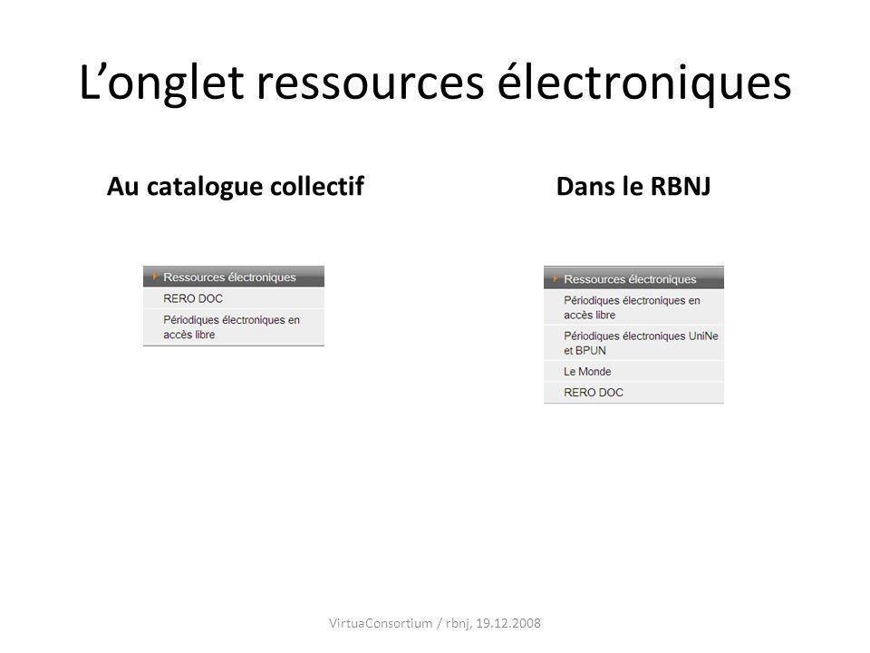 L'onglet ressources électroniques