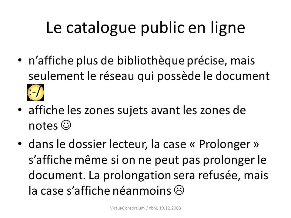 Le catalogue public en ligne
