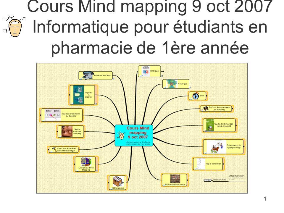 Cours Mind mapping 9 oct 2007 Informatique pour étudiants en pharmacie de 1ère année