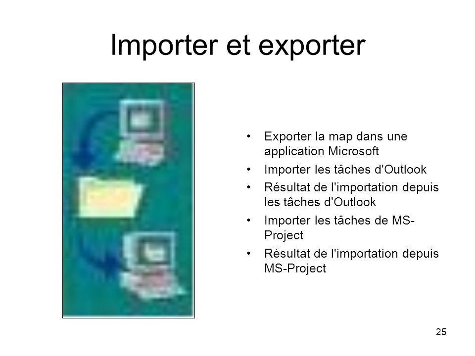 Importer et exporter Exporter la map dans une application Microsoft
