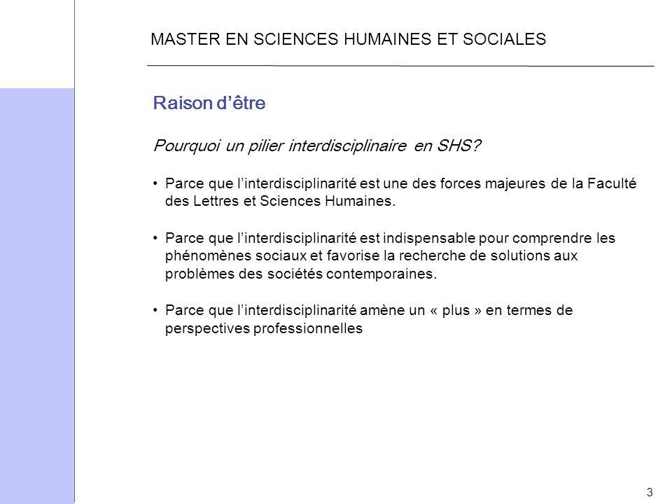 Raison d'être MASTER EN SCIENCES HUMAINES ET SOCIALES