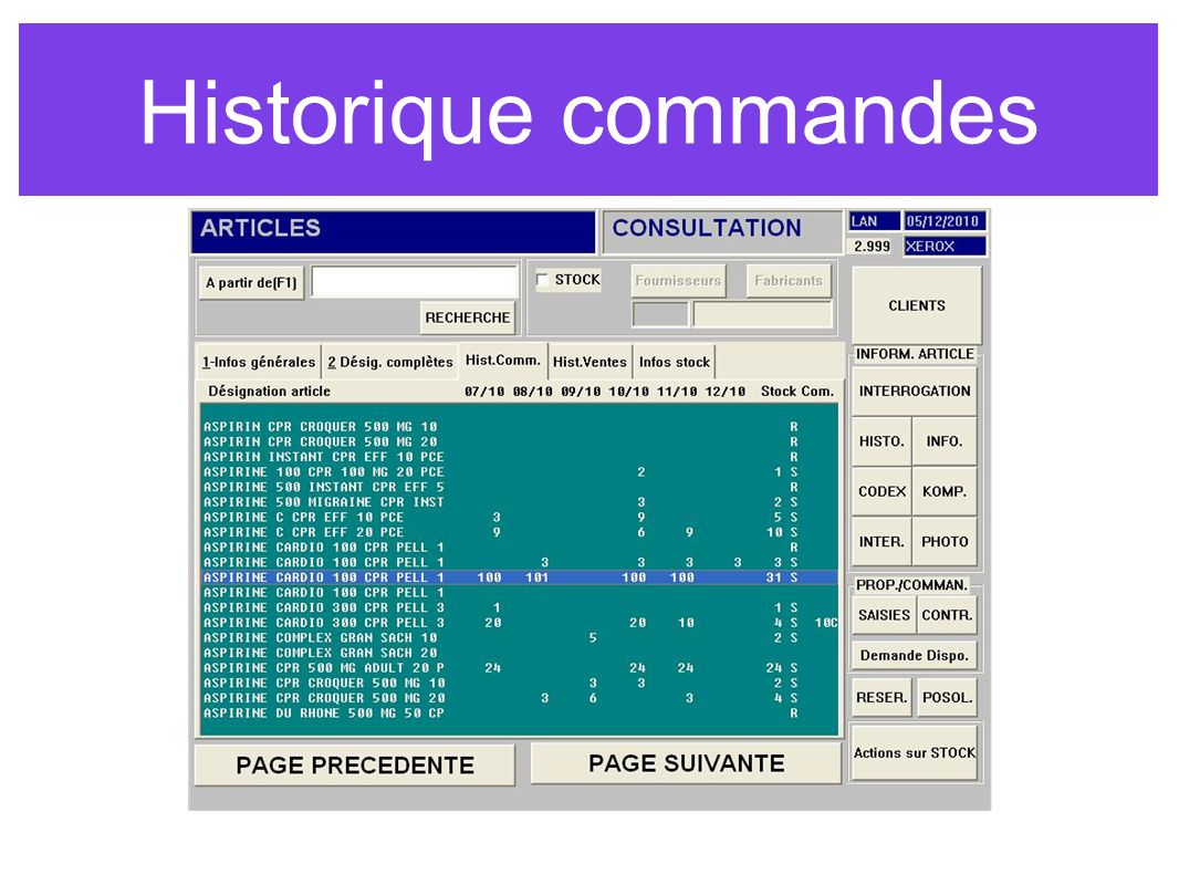 Historique commandes