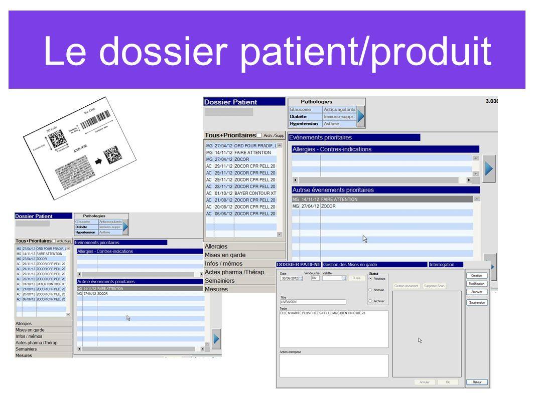 Le dossier patient/produit