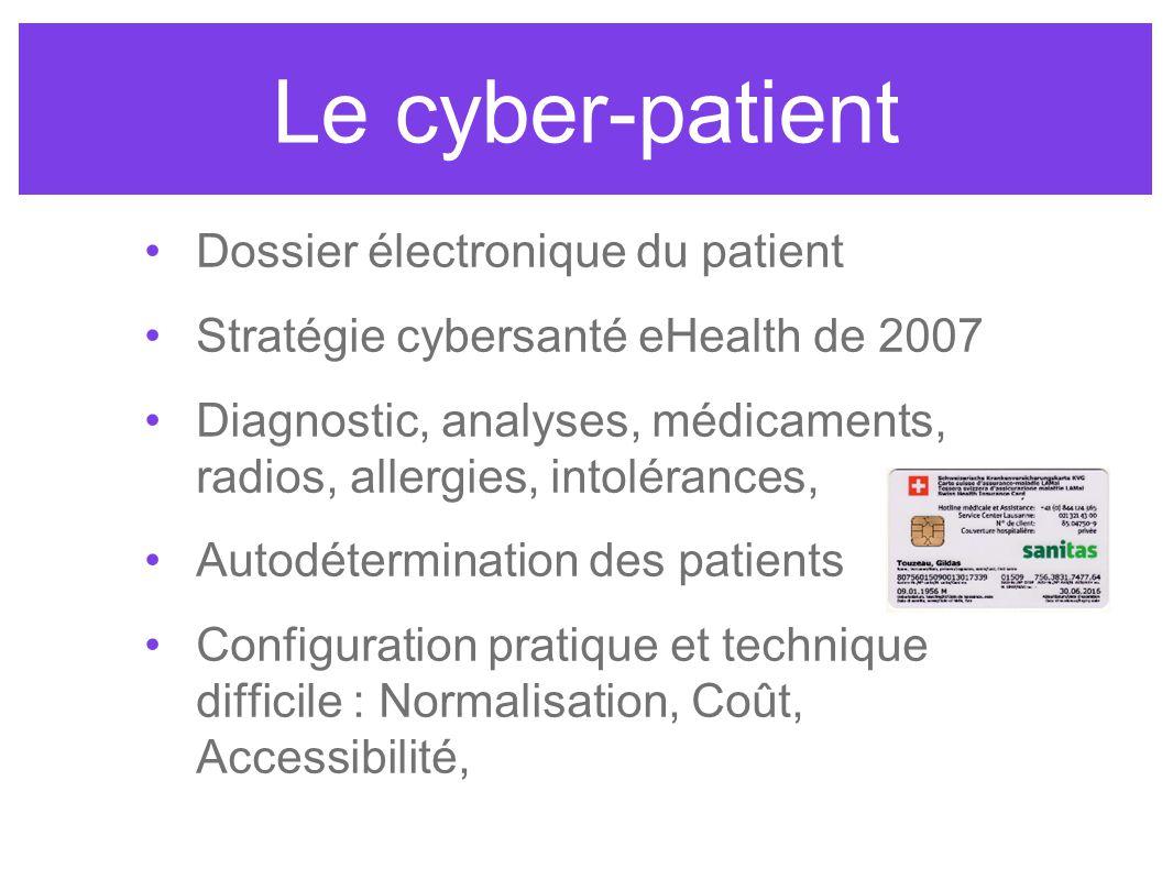 Le cyber-patient Dossier électronique du patient