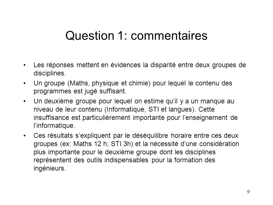 Question 1: commentaires