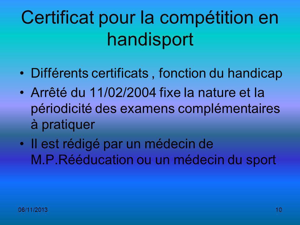 Certificat pour la compétition en handisport