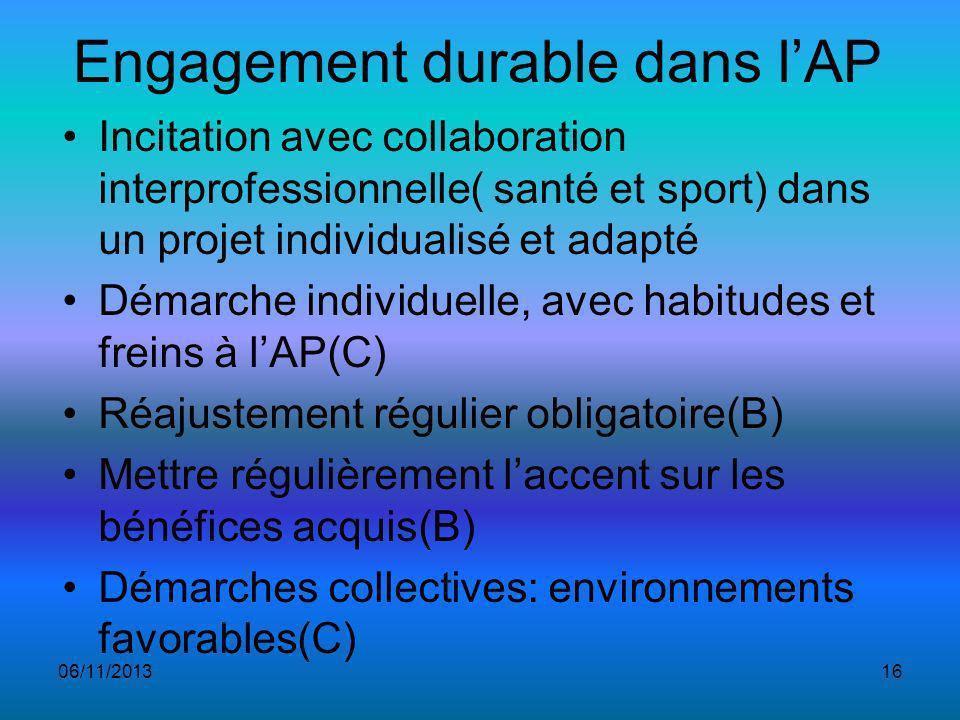 Engagement durable dans l'AP