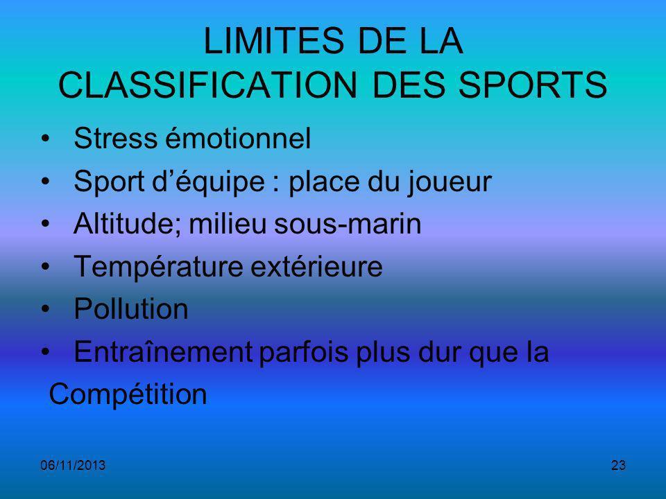 LIMITES DE LA CLASSIFICATION DES SPORTS