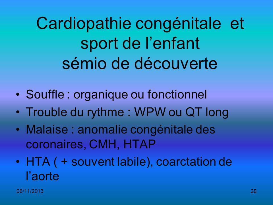 Cardiopathie congénitale et sport de l'enfant sémio de découverte