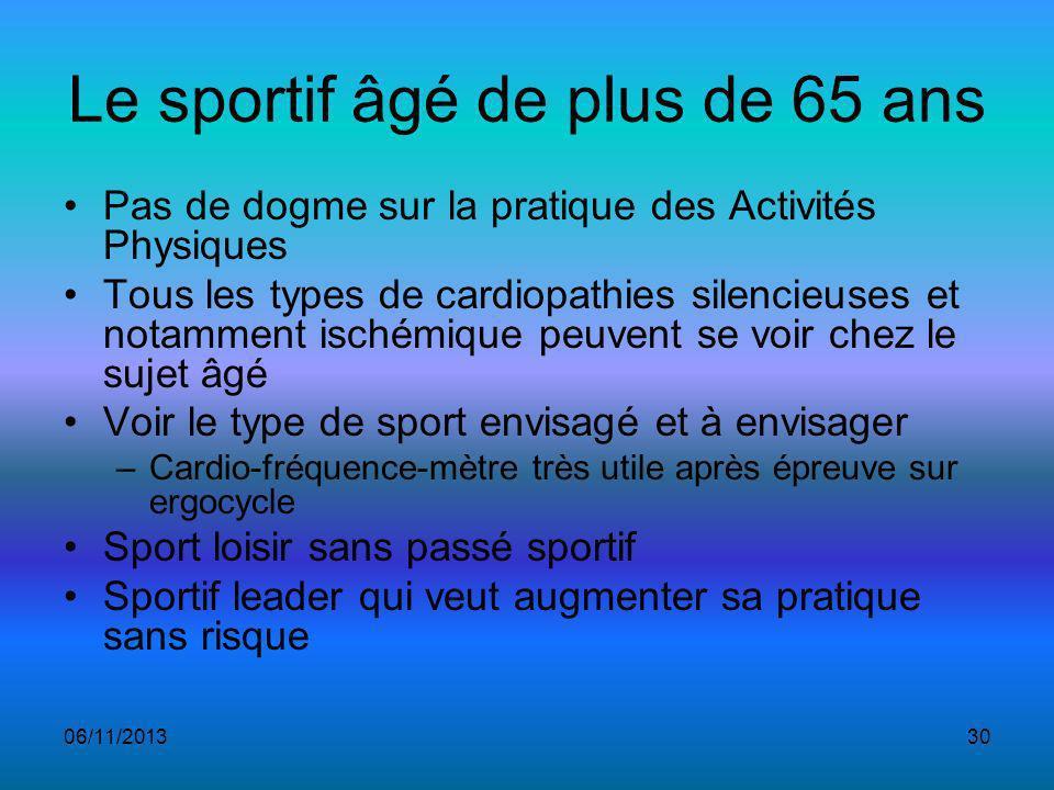 Le sportif âgé de plus de 65 ans