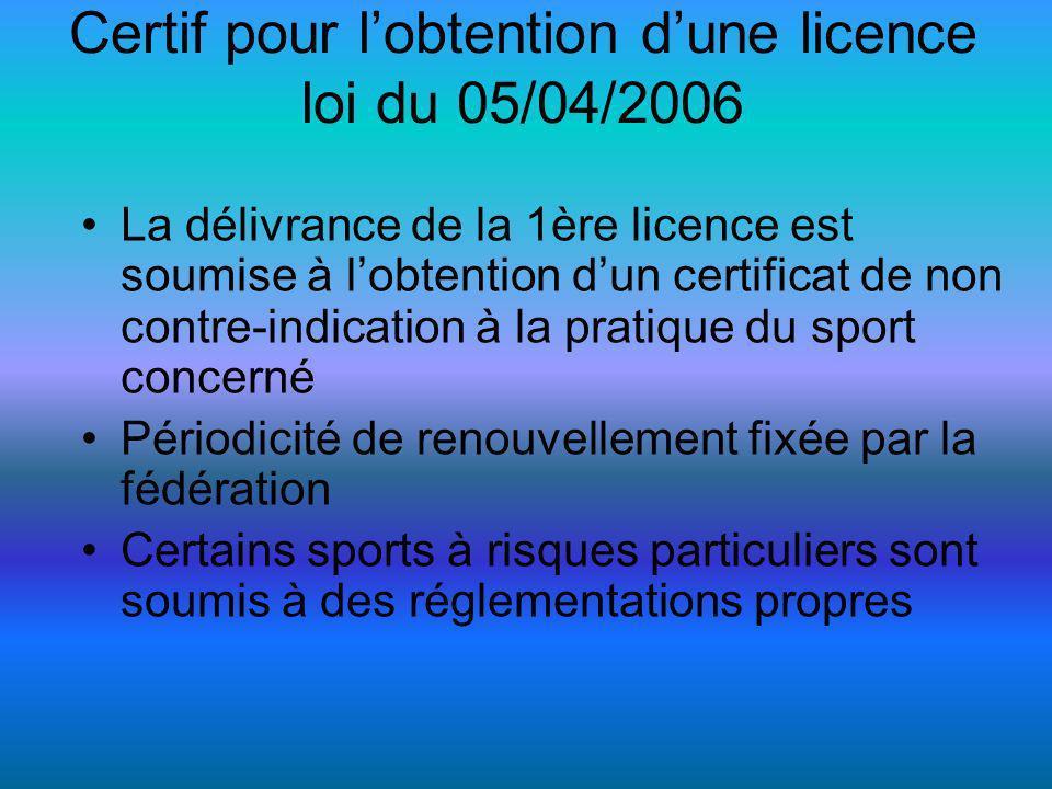 Certif pour l'obtention d'une licence loi du 05/04/2006