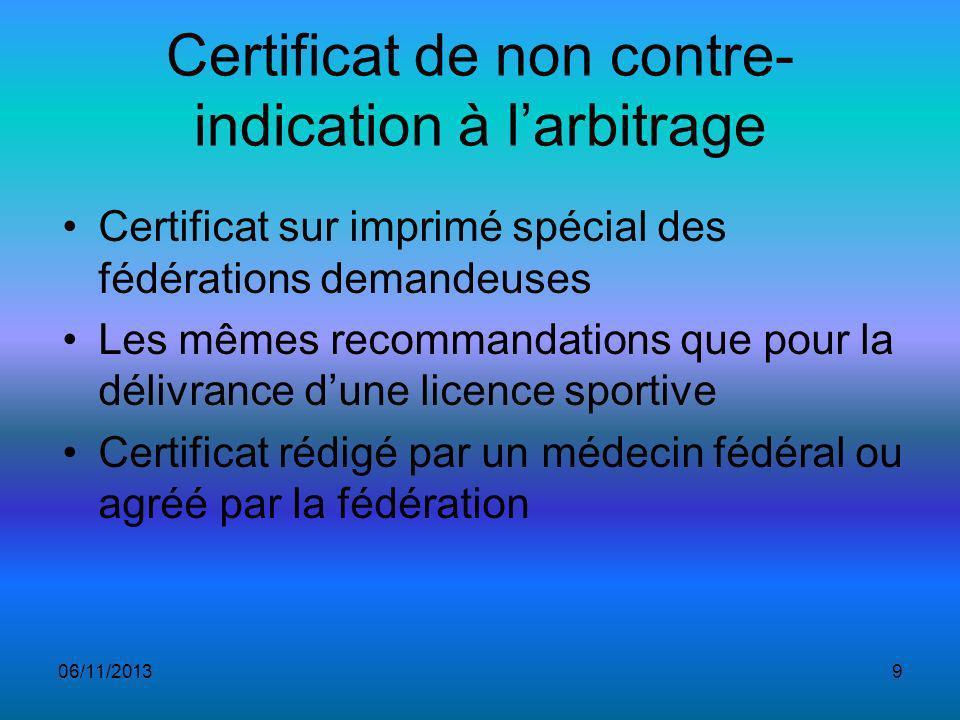 Certificat de non contre-indication à l'arbitrage