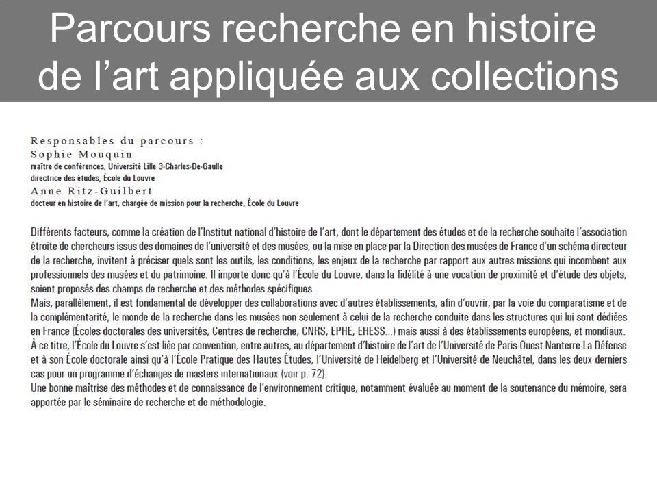 Parcours recherche en histoire de l'art appliquée aux collections